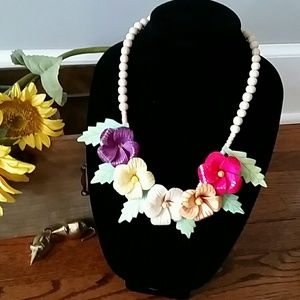 Handcrafted Wooden Floral Necklace